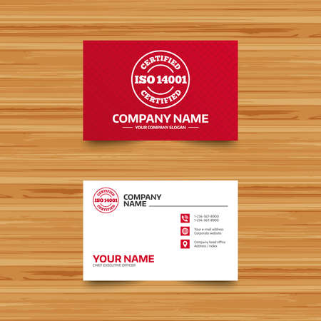 Business card template iso 14001 certified sign icon certification business card template iso 14001 certified sign icon certification stamp phone globe reheart Images