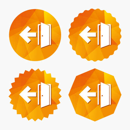 fire exit: Emergency exit sign icon. Door with left arrow symbol. Fire exit. Triangular low poly buttons with flat icon. Vector Illustration