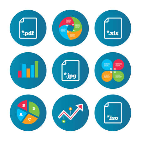 extensions: Business pie chart. Growth curve. Presentation buttons. Download document icons. File extensions symbols. PDF, XLS, JPG and ISO virtual drive signs. Data analysis. Vector