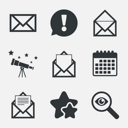 webmail: Mail envelope icons. Message document symbols. Post office letter signs. Attention, investigate and stars icons. Telescope and calendar signs. Vector