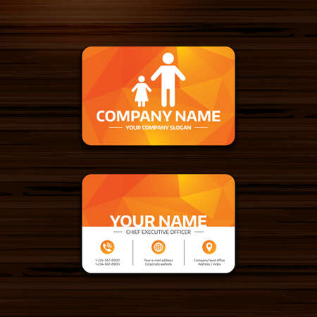 family with one child: Business or visiting card template. One-parent family with one child sign icon. Father with daughter symbol. Phone, globe and pointer icons. Vector