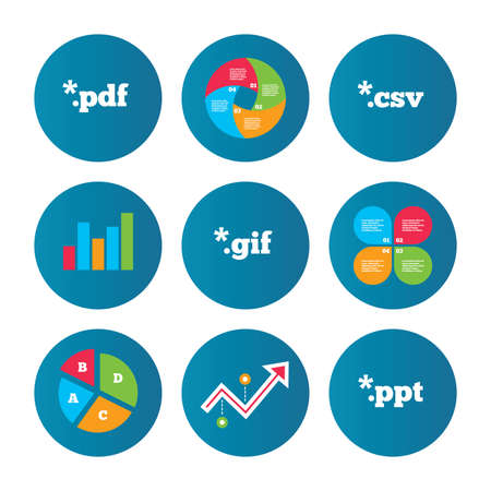 csv: Business pie chart. Growth curve. Presentation buttons. Document icons. File extensions symbols. PDF, GIF, CSV and PPT presentation signs. Data analysis. Vector Illustration