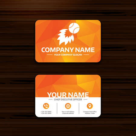 business or visiting card template baseball fireball sign icon