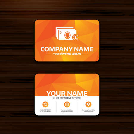 withdrawals: Business or visiting card template. Cash and coin sign icon. Paper money symbol. For cash machines or ATM. Phone, globe and pointer icons. Vector Illustration