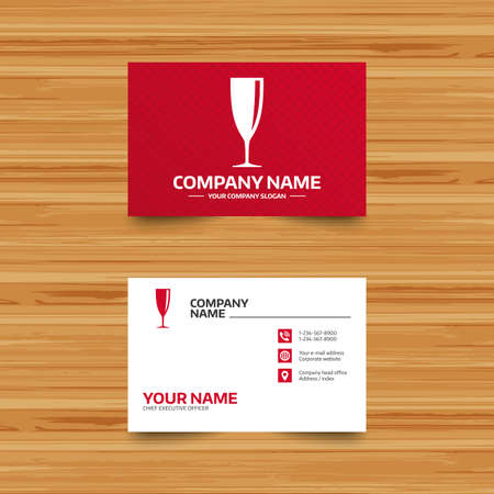 banquet: Business card template. Glass of champagne sign icon. Sparkling wine. Celebration or banquet alcohol drink symbol. Phone, globe and pointer icons. Visiting card design. Vector
