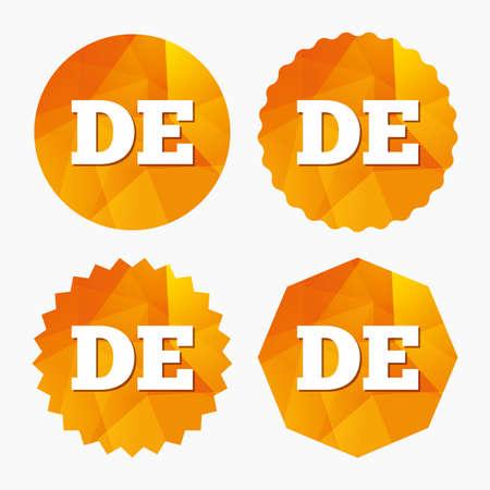 deutschland: German language sign icon. DE Deutschland translation symbol. Triangular low poly buttons with flat icon. Vector Illustration