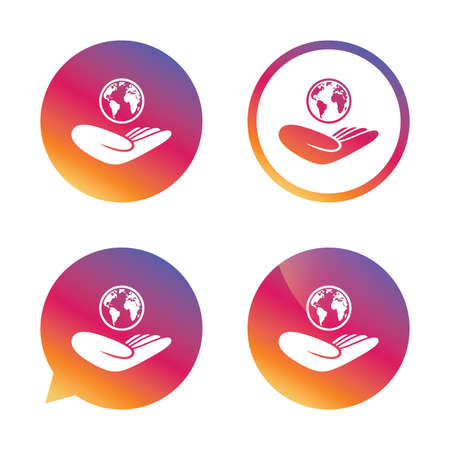 peace stamp: World insurance sign. Hand holds planet symbol. Travel insurance. World peace. Gradient buttons with flat icon. Speech bubble sign. Vector