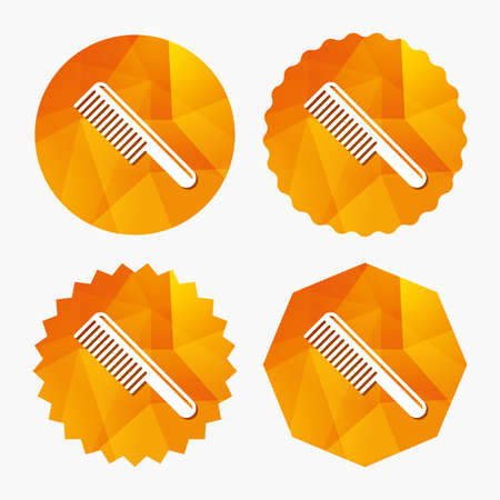 comb hair: Comb hair sign icon. Barber symbol. Triangular low poly buttons with flat icon. Vector