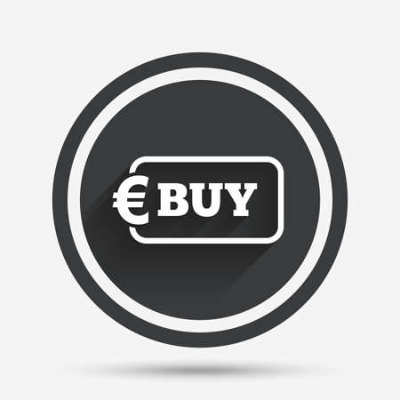 eur: Buy sign icon. Online buying Euro eur button. Circle flat button with shadow and border. Vector
