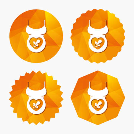 big breast: Pregnant woman shirt sign icon. Baby on board with dummy. Maternity symbol Triangular low poly buttons with flat icon. Vector