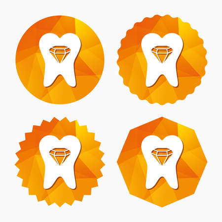 Tooth crystal icon. Tooth jewellery sign. Dental prestige symbol. Triangular low poly buttons with flat icon. Vector