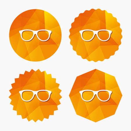 eyeglass frame: Retro glasses sign icon. Eyeglass frame symbol. Triangular low poly buttons with flat icon. Vector