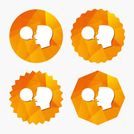 Talk or speak icon. Speech bubble symbol. Human talking sign. Triangular low poly buttons with flat icon. Vector