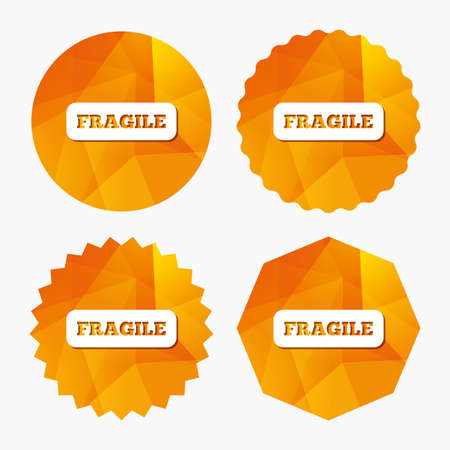 brittle: Fragile parcel sign icon. Delicate package delivery symbol. Triangular low poly buttons with flat icon. Vector