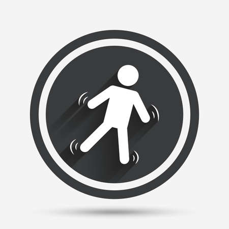 falling man: Man falls sign icon. Falling down human symbol. Caution slippery. Circle flat button with shadow and border. Vector