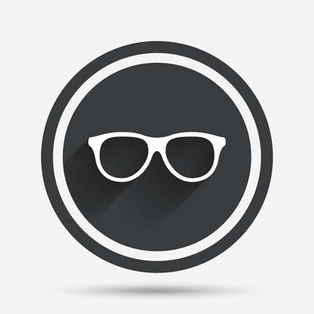 eyeglass frame: Retro glasses sign icon. Eyeglass frame symbol. Circle flat button with shadow and border. Vector