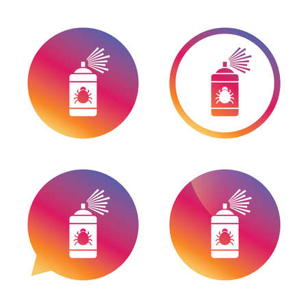 acarus: Bug disinfection sign icon. Fumigation symbol. Bug sprayer. Gradient buttons with flat icon. Speech bubble sign. Vector