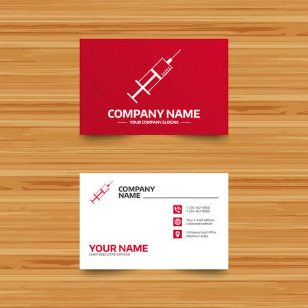 inoculation: Business card template. Syringe sign icon. Medicine symbol. Phone, globe and pointer icons. Visiting card design. Vector