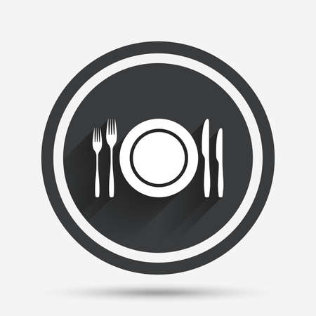 etiquette: Plate dish with forks and knifes. Eat sign icon. Cutlery etiquette rules symbol. Circle flat button with shadow and border. Vector