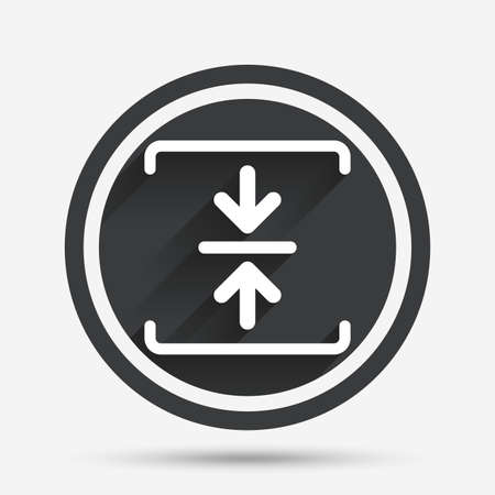 zipped: Archive file sign icon. Compressed zipped file symbol. Arrows. Circle flat button with shadow and border. Vector