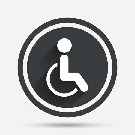 invalid: Disabled sign icon. Human on wheelchair symbol. Handicapped invalid sign. Circle flat button with shadow and border. Vector
