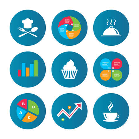 growth hot: Business pie chart. Growth curve. Presentation buttons. Food and drink icons. Muffin cupcake symbol. Fork and spoon with Chef hat sign. Hot coffee cup. Food platter serving. Data analysis. Vector Illustration