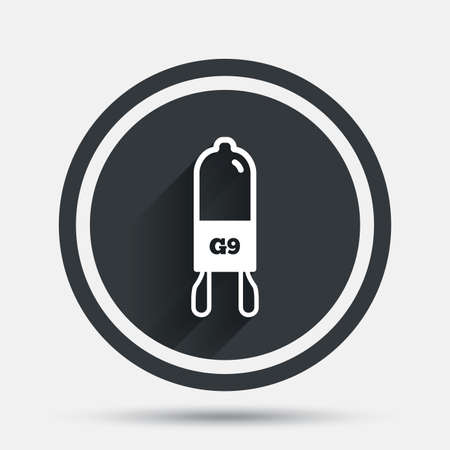 enchufe de luz: Light bulb icon. Lamp G9 socket symbol. Led or halogen light sign. Circle flat button with shadow and border. Vector