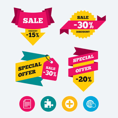 puzzle globe: Plus add circle and puzzle piece icons. Document file and globe with hand pointer sign symbols. Web stickers, banners and labels. Sale discount tags. Special offer signs. Vector
