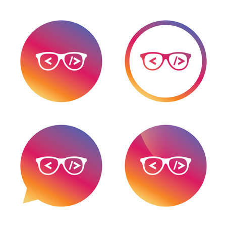 coder: Coder sign icon. Programmer symbol. Glasses icon. Gradient buttons with flat icon. Speech bubble sign. Vector Illustration