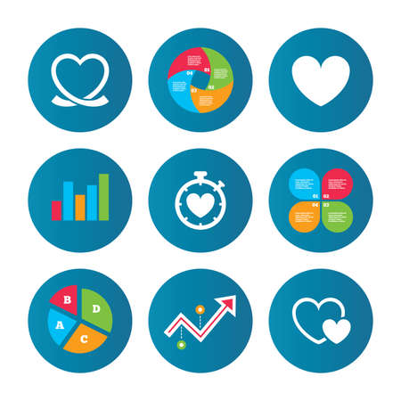 palpitation: Business pie chart. Growth curve. Presentation buttons. Heart ribbon icon. Timer stopwatch symbol. Love and Heartbeat palpitation signs. Data analysis. Vector Illustration
