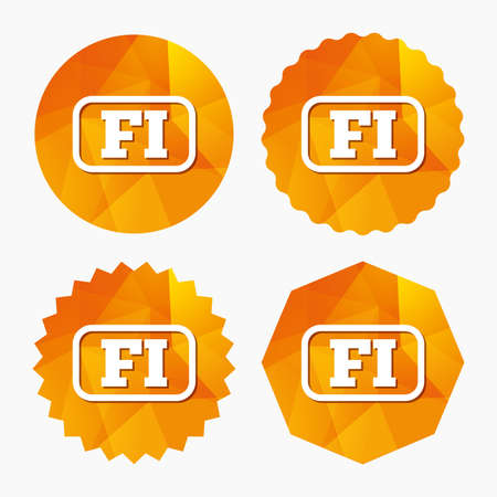 finnish: Finnish language sign icon. FI Finland translation symbol with frame. Triangular low poly buttons with flat icon. Vector Illustration