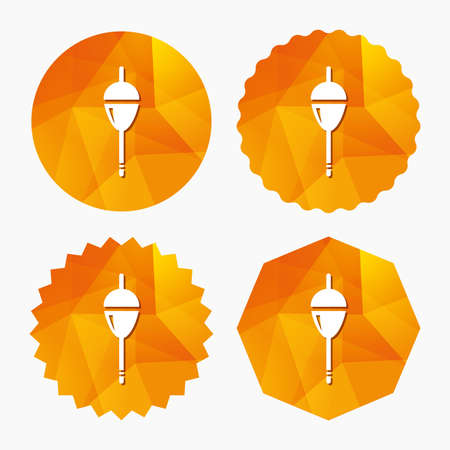 bobber: Fishing sign icon. Float bobber symbol. Fishing tackle. Triangular low poly buttons with flat icon. Vector