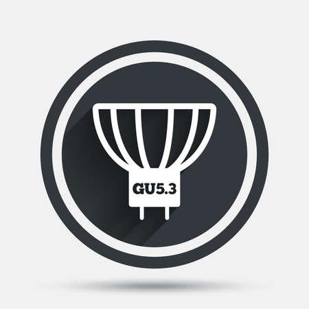 enchufe de luz: icono de la bombilla. Lámpara símbolo zócalo GU5.3. Dirigido o señal de luz halógena. botón plano círculo con sombra y la frontera. Vector Vectores