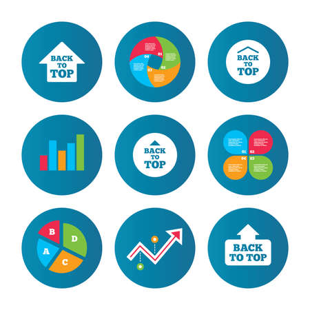 scroll up: Business pie chart. Growth curve. Presentation buttons. Back to top icons. Scroll up with arrow sign symbols. Data analysis. Vector
