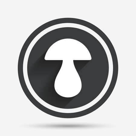 cep: Mushroom sign icon. Boletus mushroom symbol. Circle flat button with shadow and border. Vector Illustration