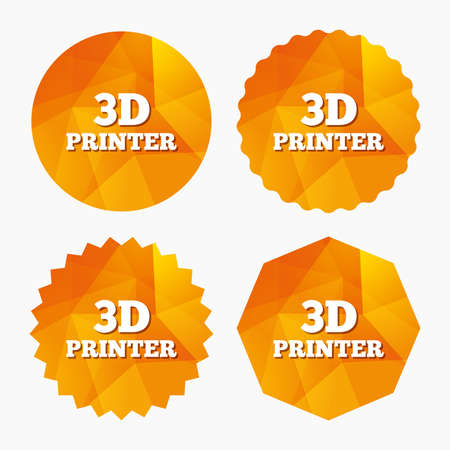 additive manufacturing: 3D Print sign icon. 3d Printing symbol. Additive manufacturing. Triangular low poly buttons with flat icon. Vector