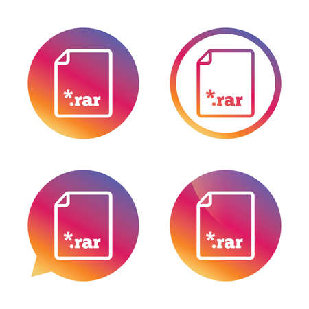rar: Archive file icon. Download compressed file button. RAR zipped file extension symbol. Gradient buttons with flat icon. Speech bubble sign. Vector