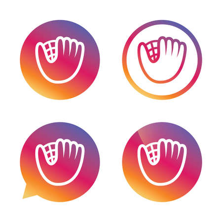 mitt: Baseball glove or mitt sign icon. Sport symbol. Gradient buttons with flat icon. Speech bubble sign. Vector