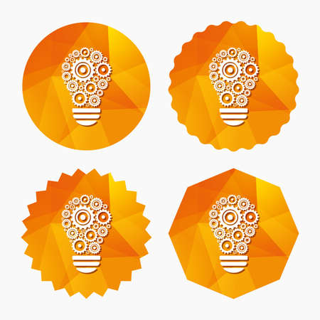 Light lamp sign icon. Bulb with gears and cogs symbol. Idea symbol. Triangular low poly buttons with flat icon. Vector Illustration