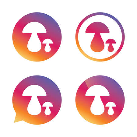 cep: Mushroom sign icon. Boletus mushroom symbol. Gradient buttons with flat icon. Speech bubble sign. Vector