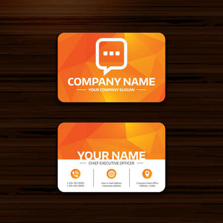 three pointer: Business or visiting card template. Chat sign icon. Speech bubble with three dots symbol. Communication chat bubble. Phone, globe and pointer icons. Vector Illustration