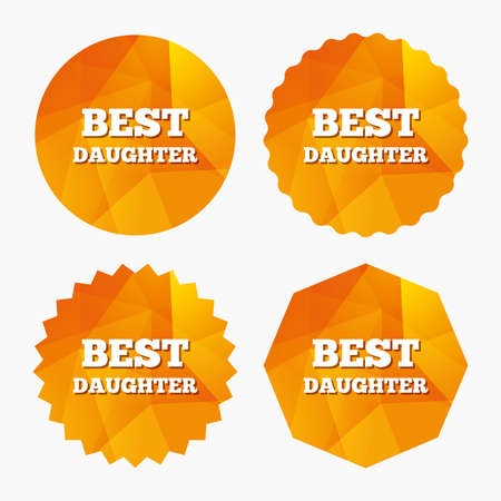 relatives: Best daughter sign icon. Award symbol. Triangular low poly buttons with flat icon. Vector Illustration