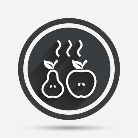 baked: Apple and pear sign icon. Baked hot fruits symbol. Circle flat button with shadow and border. Vector
