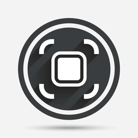 autofocus: Autofocus zone sign icon. Photo camera settings. Circle flat button with shadow and border. Vector