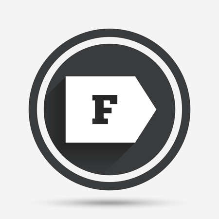energy consumption: Energy efficiency class F sign icon. Energy consumption symbol. Circle flat button with shadow and border. Vector