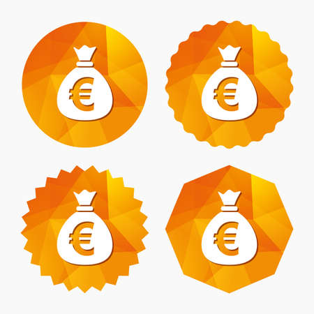 eur: Money bag sign icon. Euro EUR currency symbol. Triangular low poly buttons with flat icon. Vector