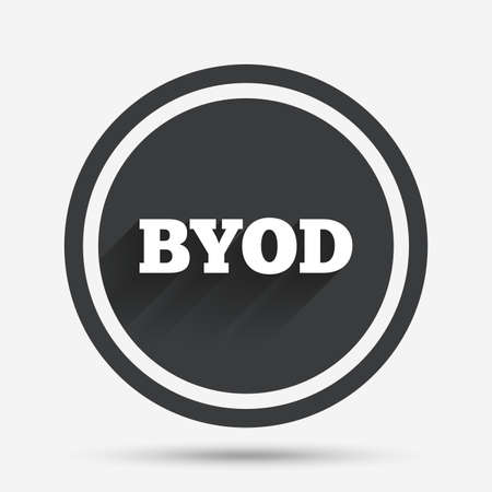bring: BYOD sign icon. Bring your own device symbol. Circle flat button with shadow and border. Vector