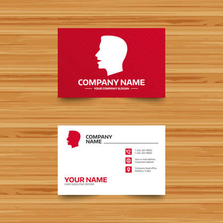 loud noise: Business card template. Talk or speak icon. Loud noise symbol. Human talking sign. Phone, globe and pointer icons. Visiting card design. Vector