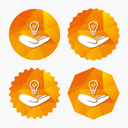 intellectual: Idea patent insurance sign. Hand holds lamp bulb symbol. Intellectual Property. Triangular low poly buttons with flat icon. Vector
