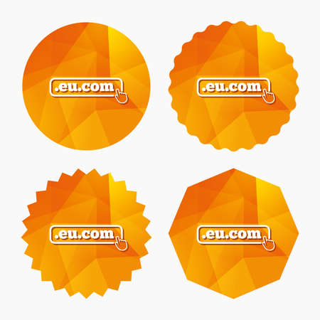subdomain: Domain EU.COM sign icon. Internet subdomain symbol with hand pointer. Triangular low poly buttons with flat icon. Vector